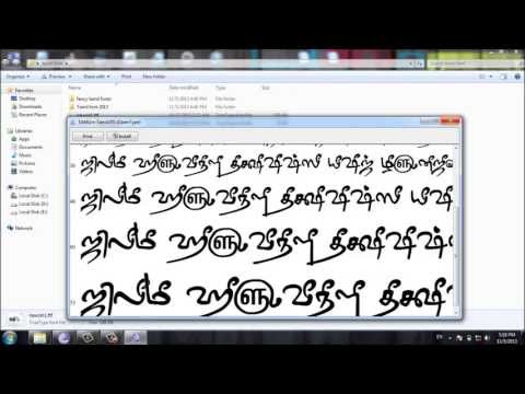 how to install font  tamil video tutorial