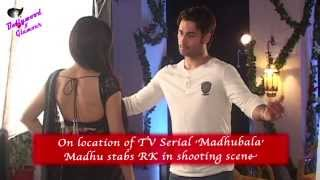 On location of TV Serial 'Madhubala'  Madhu stabs RK in shooting scene