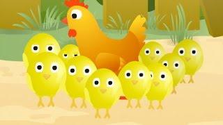 Учимся считать до 10 - Мультик про цыплят и курочку(Обучающий мультфильм для детей