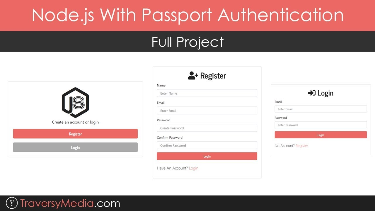Node js With Passport Authentication | Full Project