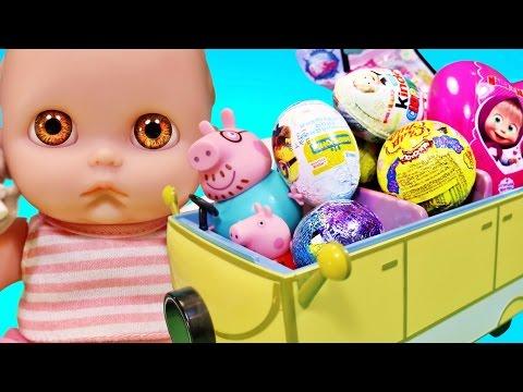 Куклы Пупсики гуляют Свинка Пеппа привезла сюрпризы открывают Маша и Медведь Смешарики LPS Зырики ТВ