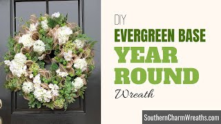 How to Make a Yęar Round Wreath on a Christmas Wreath Base | Deco Mesh Year Round Door Wreath