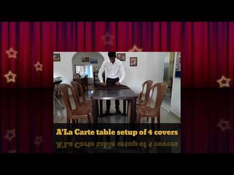 A'La Carte table setup of 4 covers