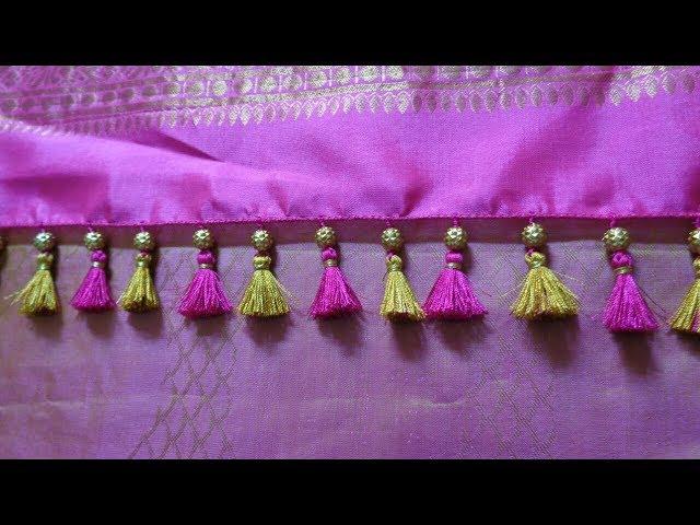 Single beaded simple Saree Kuchu/ how to make Saree kuchu