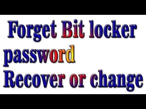 bitlocker recovery key change password