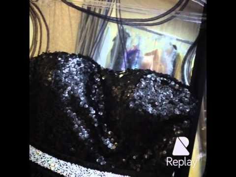 Black short dress with pearls. Iren Moro. Коктейльное черное короткое платье на выпускной