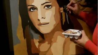 time lapse painting chica con sombrilla original d76