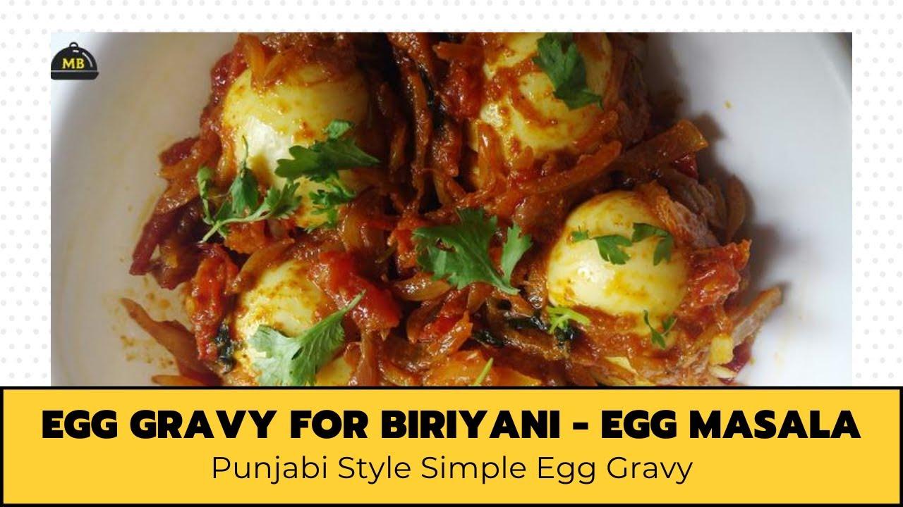Egg Gravy For Biriyani - Egg Curry - Egg Masala Recipes In English - Punjabi Style Simple Egg Gravy