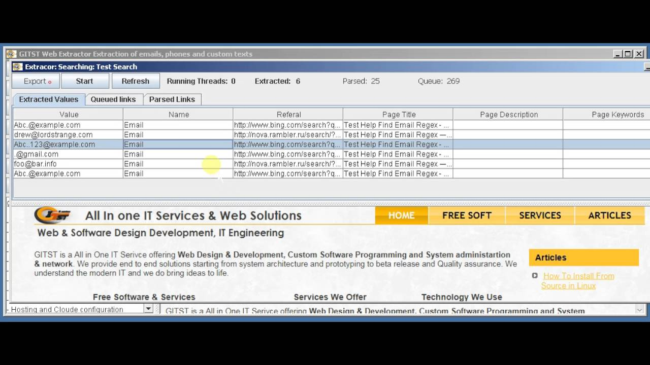 Web Spider, Web Crawler, Email Extractor