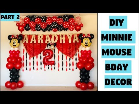 DIY Minnie Mouse Balloon Bday Decoration | Balloon Arch Without Stand | ItsSupriyasLife