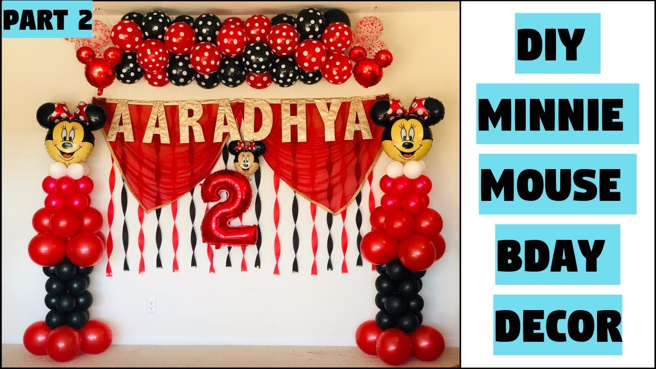 Diy Minnie Mouse Balloon Bday Decoration Balloon Arch Without
