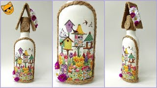 Jute bottle decor and decoupage napkin.
