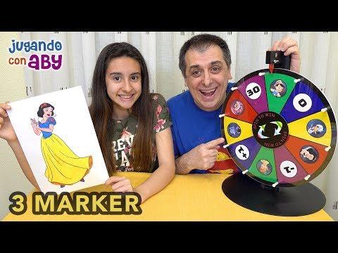 3 MARKER CHALLENGE Plus De Personajes Disney Con Rotuladores De Colores