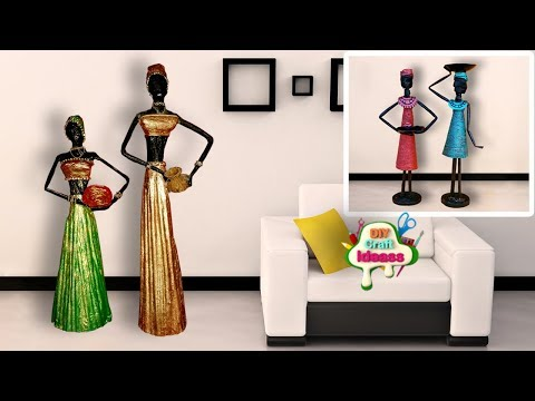 How To Make Dolls From Newspaper And Tissue Paper | African Doll | 2 Diy Craft Ideas