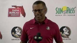 Florida State head football coach Willie Taggart on growth vs NIU, looks ahead to Louisville