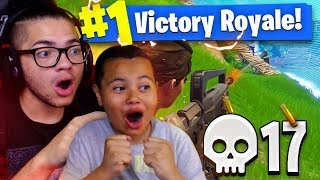 TEACHING 9 YEAR OLD BROTHER HOW TO WIN 100% OF SOLOS! 17 KILL GAMEPLAY! FORTNITE BATTLE ROYALE