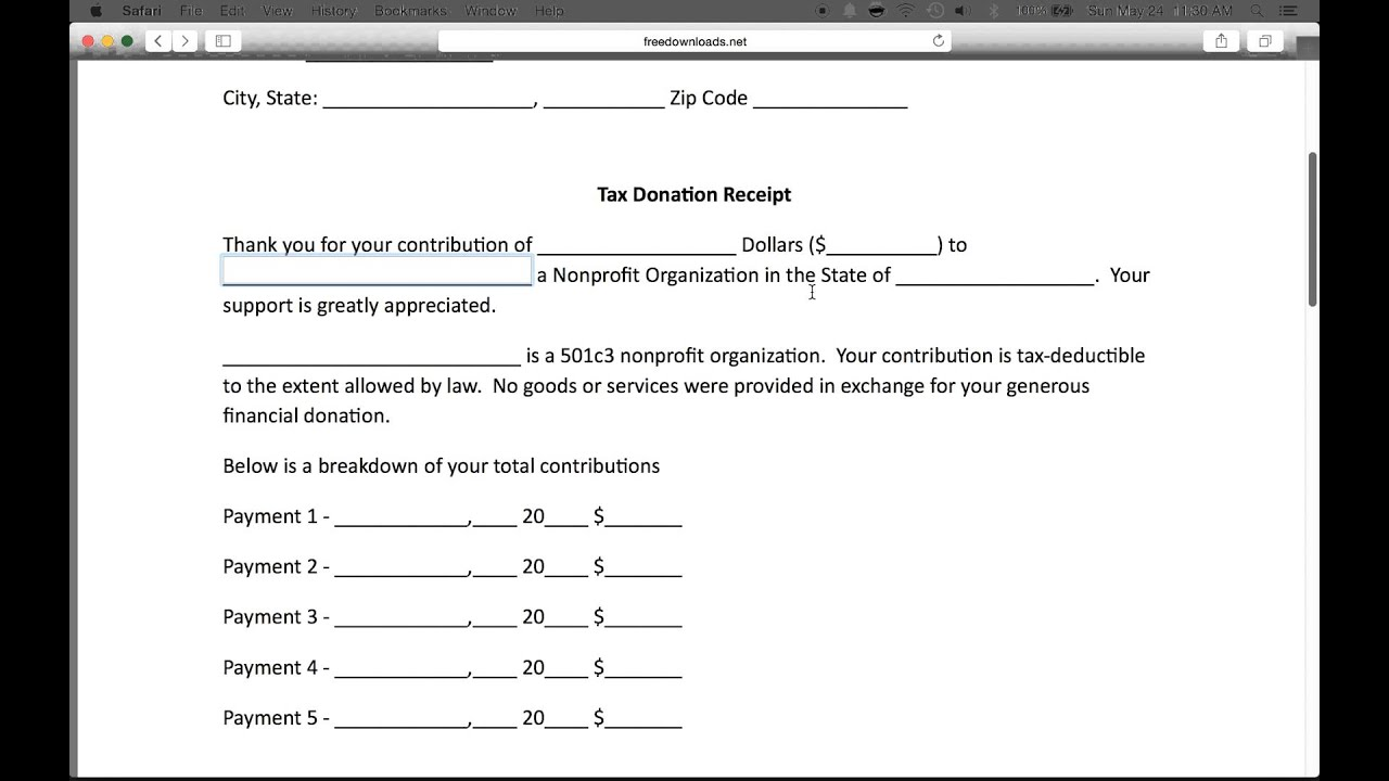 form for donations to nonprofit
