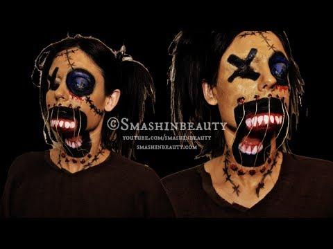 Creepy Scary Voodoo Doll Makeup Halloween Makeup Tutorial 2017 ...