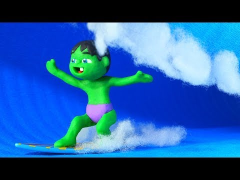 FUNNY KIDS ENJOY THE WAVES ❤ Play Doh Cartoons For Kids