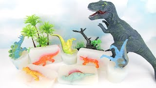 DINOSAURA In JELLY! T Rex Attack Herbivorous dinosaurs~ Hide N Seek Mini Size Dinosaurs! Fun video~