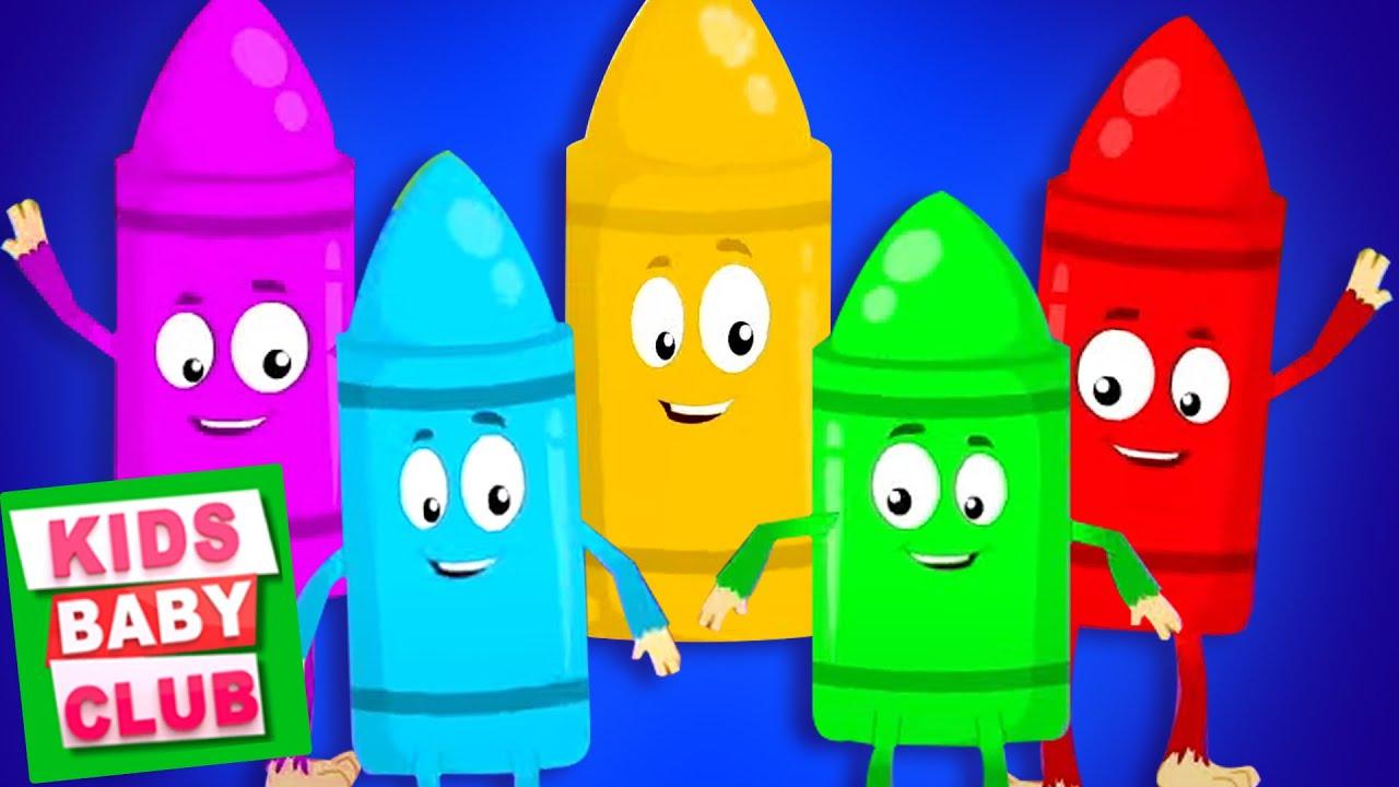 Five Little Crayons | Kidergarten Nursery Rhymes & Baby Songs - Kids Baby Club