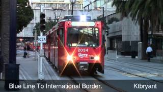 New Orange Line San Diego Trolleys Around Downtown - HD