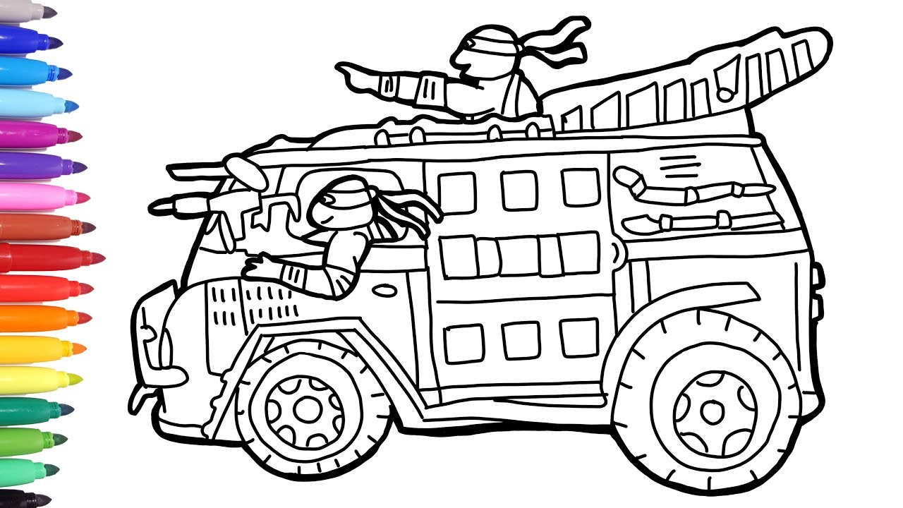 TMNT Van Coloring Pages, Drawing Teenage Mutant Ninja