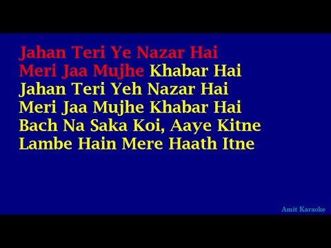 Jahan Teri Yeh Nazar Hai - Kishore Kumar Hindi Full Karaoke with Lyrics
