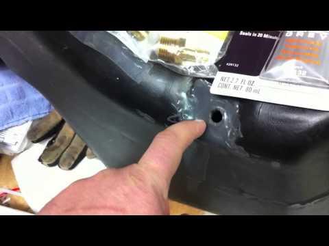 Repairing a broken fuel nipple on a polyethylene diesel gas tank