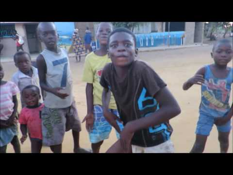Dancing Pandza with the kiddies in the villages of Vilanculos. Mozambique.