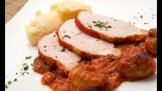 Receta de lomo de cerdo al horno con puré de patatas - Karlos Arguiñano