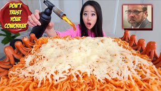 VOLCANO CHEESE SPICY NOODLES + SAUSAGES MUKBANG 먹방 | Eating Show
