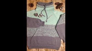 Вяжем свитер Худи спицами для мальчика