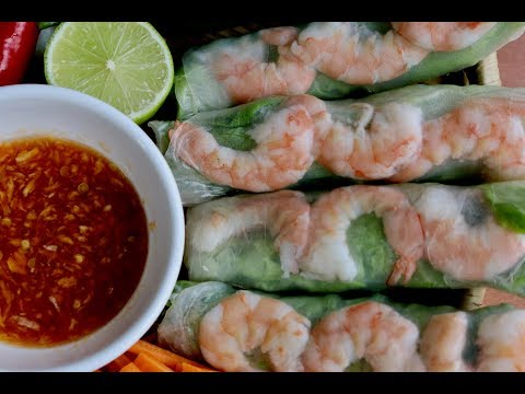 How to Make Vietnamese Fresh Shrimp Spring Rolls with Spicy Lime Fish Sauce Dipping