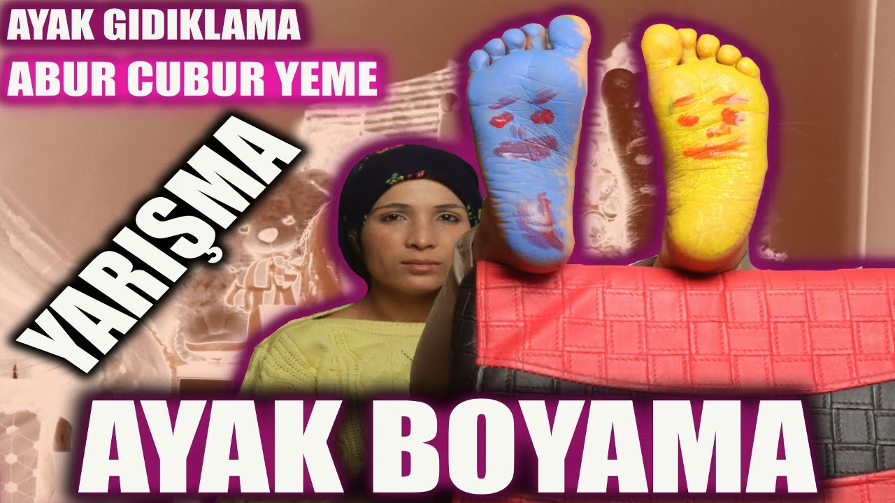 Ayak Boyama Challenge Foot Painting And Foot Tickling Youtube