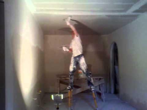 видео: как шпаклевать потолок