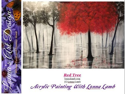 Acrylic Painting Tutorial Red Tree