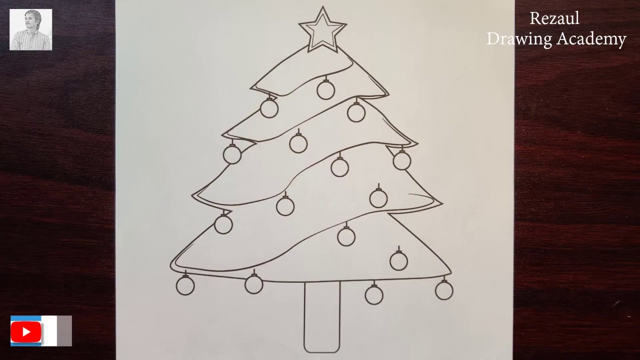 How to draw Decorated Christmas Tree    Pencil Drawing of Christmas Tree - YouTube