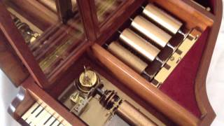 Reuge Music box five cylinder piano inlay Tchaikovsky Masterpieces