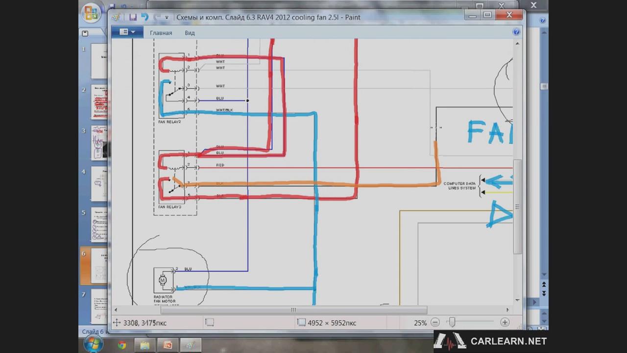 Схема управления вентилятором охлаждения Toyota RAV4.