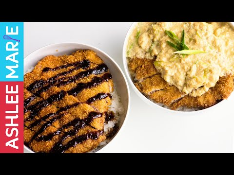 Two classic Japanese dishes - breaded pork cutlets with sauces two ways - Tonkatsu and Katsudon