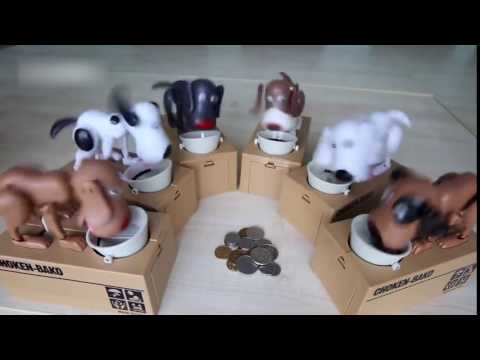 Dog Puppy Hungry Hound Bank Coin Eating Save Money Box Collection Gift
