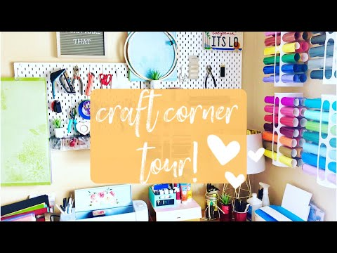How to Store Craft Supplies in a TINY SMALL SPACE | CRAFT CORNER TOUR!