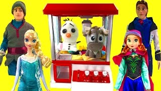 Disney Frozen Anna Elsa Play the Claw Machine for Toy Surprises! Hans Throws Olaf & Sven in!