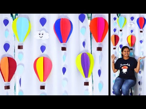 Giant Paper Hot Air Balloon Making - DIY easy birthday wall decoration ideas