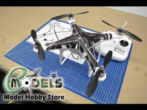 Dji phantom quadcopter carbon fibre ripped effect skin www emodels co uk youtube