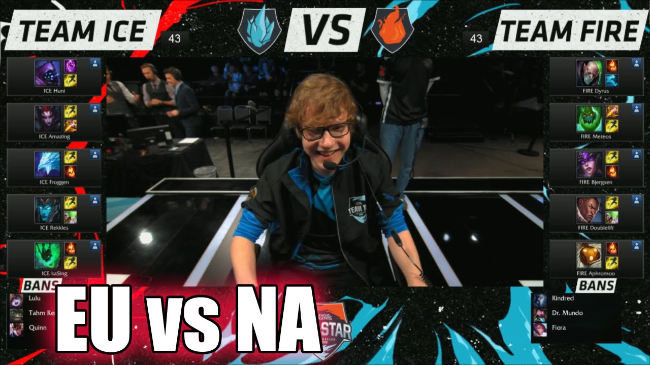 EU LCS vs NA LCS | Day 1 Game 1 All-Stars 2015 LoL in Los Angeles | EU  (ICE) vs NA (FIRE) #Allstar - YouTube