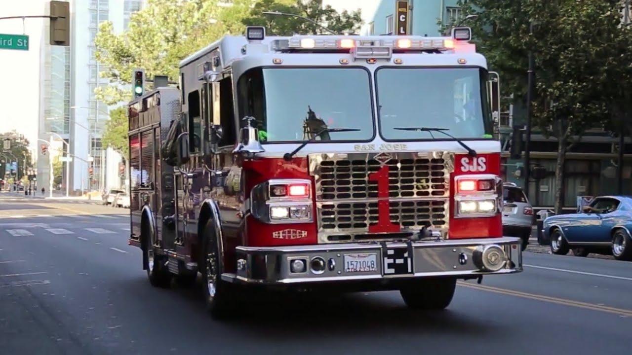 San Jose FD Engine 1 and Medic Ambulance Responding Code 3