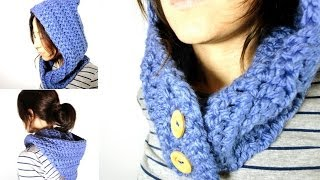 Repeat youtube video Cómo tejer un cuello - capucha de lana a ganchillo / crochet