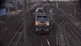 貨物列車 1066レ(EF66-27)ほか 2018/02/24 花月園前踏切付近